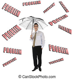 Problem word and business man with umbrella