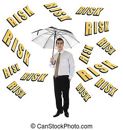 Risk word and business man with umbrella