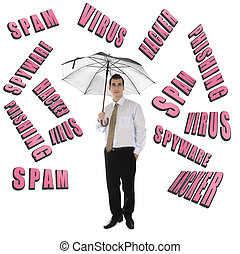 Internet Security word and business man with umbrella