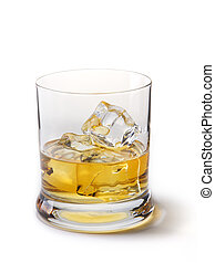 Gold whiskey with ice cubes, on a white
