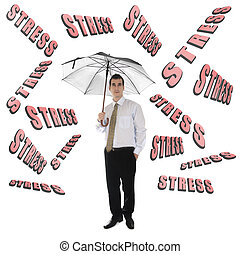 Stress word and business man with umbrella