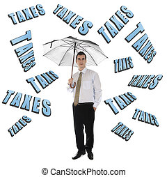 Taxes word and business man with umbrella