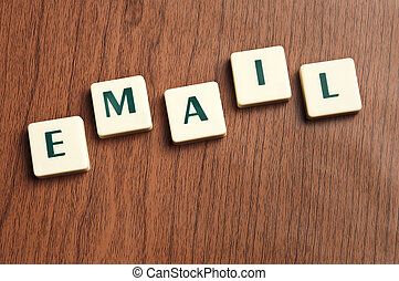 Email word made by letter pieces