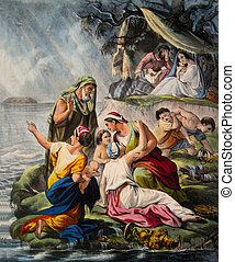 Noah flood - From 1850 Perceptive Illustrations of the Bible...