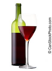 red wine and a bottle on a white background