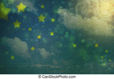 Grungy night sky background - Stars and clouds in the night...
