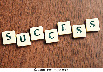 Success word made by letter pieces