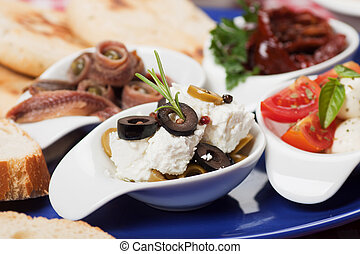 Mediterranean appetizer - Cheese and olive salad with other...
