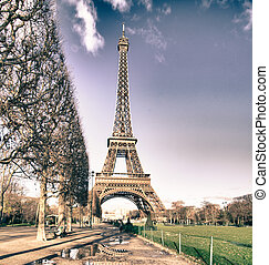 Eiffel Tower view from Champs de Mars Gardens - Eiffel Tower...
