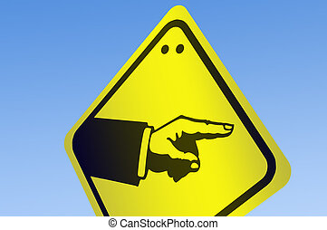 Hand pointing shape on road sign