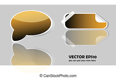 Vector gold glossy button