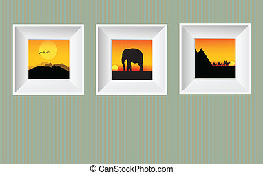 Vector photo frames on wall