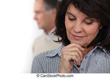 A pensive woman
