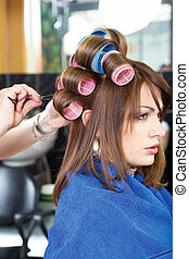 pinching clients curlers - hairstylist pinching clients...