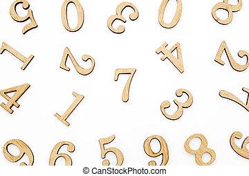 木制, 塊, 數字