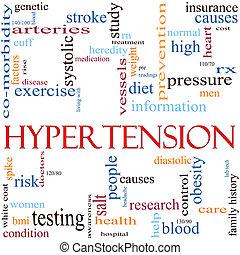 hipertensão, palavra, nuvem, conceito