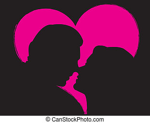 Lovers Inside A Pink Heart - man and woman about to kiss -...