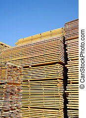 Lumber - Stacked lumber for construction