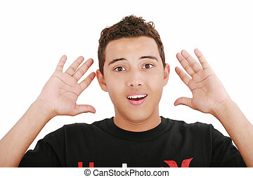 young amazed and surprised man portrait isolated on white background