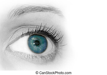 Abstract Blue Eye - Abstract close up view of womans blue...