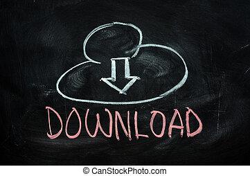Cloud download concept written on blackboard