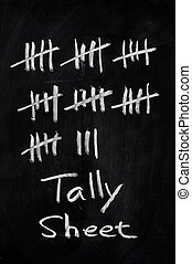 Tally sheet used for counting on a blackboard