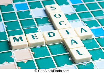 Social Media  word made by letter pieces