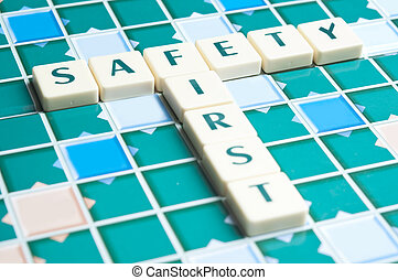 Safety word made by letter pieces