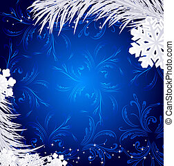 Blue Christmas holiday background with snowflakes and silver...
