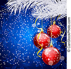 Blue Christmas festive background with red balls and silver...