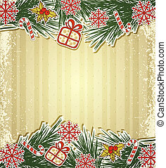 New retro background with tree branches and eating Christmas...
