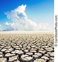 land with dry cracked ground under blue sky