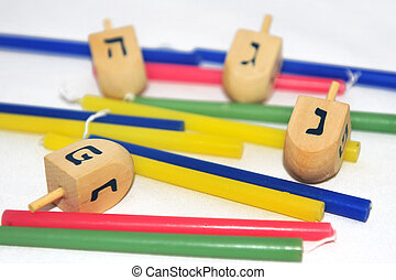 Isolated Obejects for Hanukkah - Photo of a dreidels...