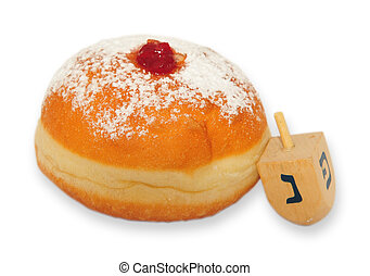Doughnut on white background - A doughnut and spinning top...