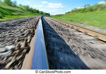 railroad to horizon in motion