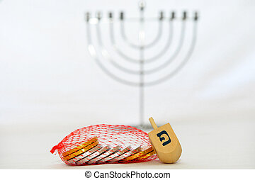 Hanukkah - Isolated Obejects - Photo of a dreidel (spinning...
