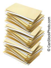 Stack of Manila File Folders on White Background