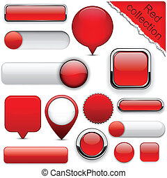 Red high-detailed modern buttons - Blank red web buttons for...