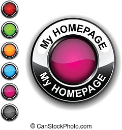 My homepage button. - My homepage realistic button. Vector.