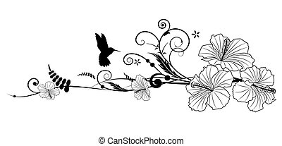 hibiscus and hummingbird - Vector floral composition with...