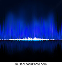 Sound waves oscillating on black background EPS 8 vector...