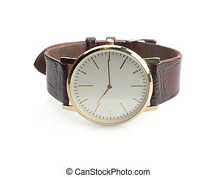 Man's watch - Close up of wrist watch isolated on a white...