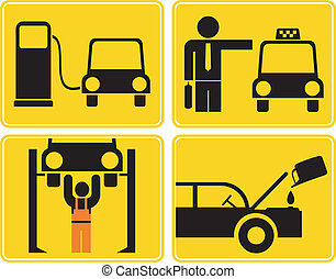 Autoservice, fuel station - signs - A set of isolated vector...