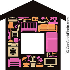 house set with furnitures and elctronics, vectp...