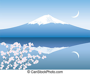 vector Mount Fuji, moon and branches of sakura