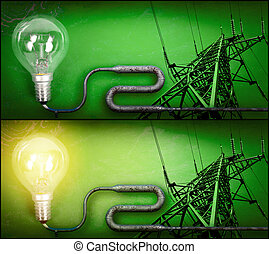 Lightbulb and electricity pylon - Electricity concept over...