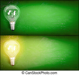 Lightbulb over green background - Simple turned off and on...