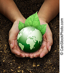 human hands holding green earth with a leaf on Fertilizer...
