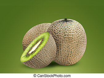 Melon and kiwi inside, ideal for mix fruit juice.