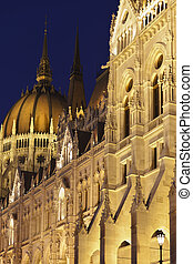Battlements - The famous Hungarian parliament, night shot...